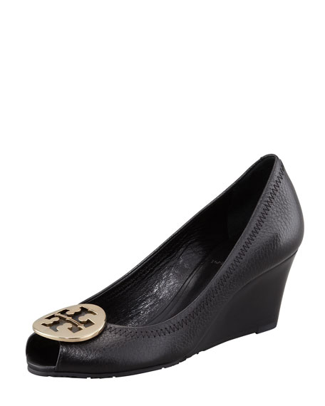 Sally 2 Leather Wedge Pump, Black/Gold