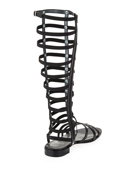 Gladiator Tall Leather Sandal, Black