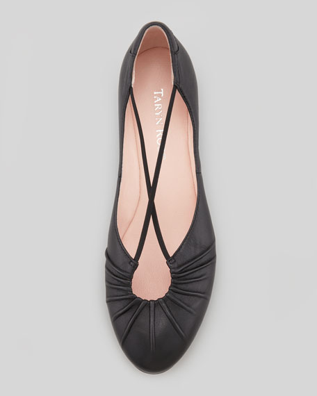 Freeca Ruched Crisscross Ballerina Flat, Black