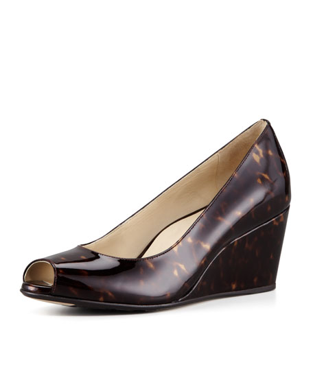 Patent Tortoise Peep-Toe Wedge, Brown