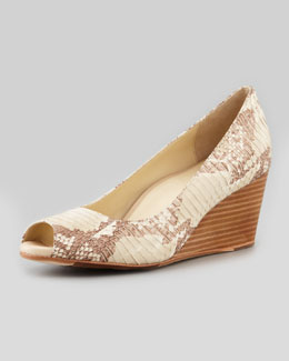 Taryn Rose Snake-Print Peep-Toe Wedge, Beige