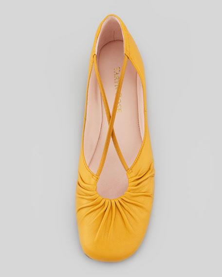 Bryan Ruched Crisscross Ballerina Flat, Ochre