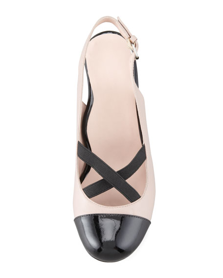 Jaxon Cap-Toe Crisscross Slingback Pump, Dusty Pink