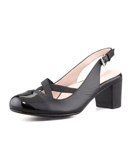 Taryn Rose Jaxon Cap-Toe Crisscross Slingback Pump, Black