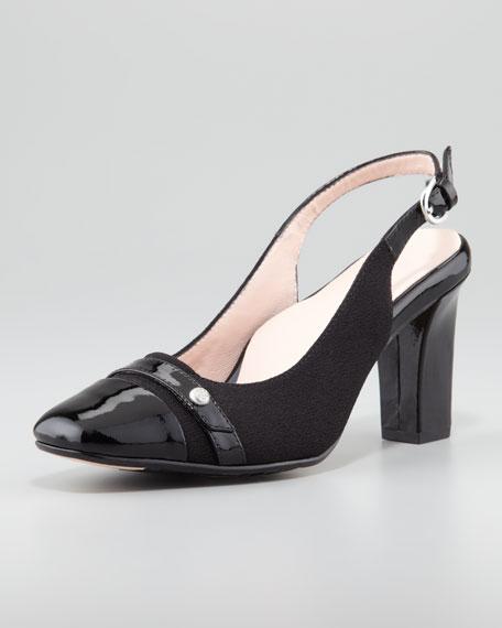 Cabrini Cap-Toe Slingback Pump, Black
