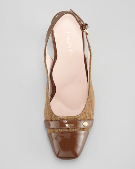 Cabrini Cap-Toe Slingback Pump, Brown