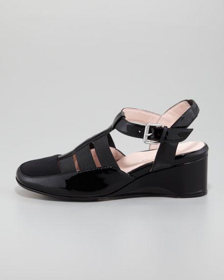 Renee Patent Low-Wedge Sandal, Black