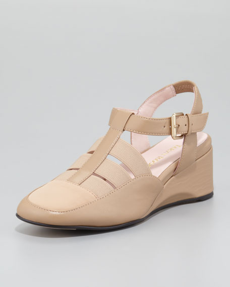 Renee Stretchy Low-Wedge Sandal, Beige