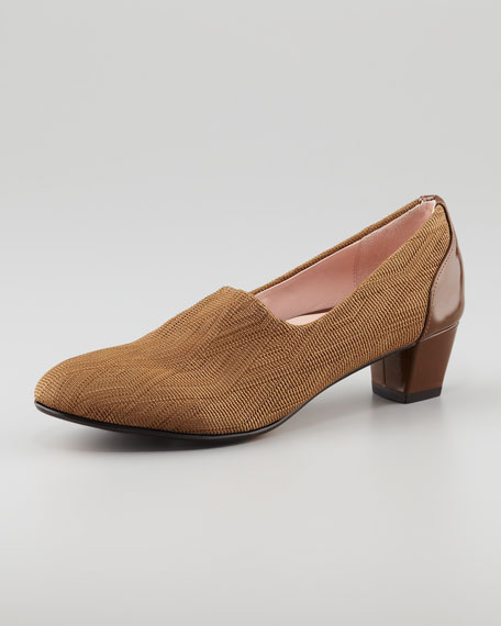 Fiona Woven Low-Heel Loafer