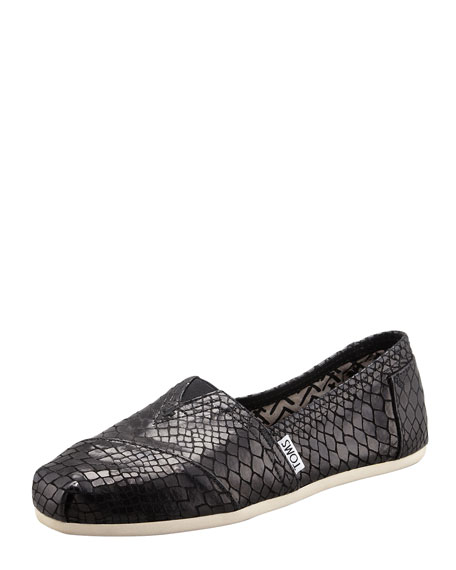 Serpentine Leather Slip-On, Black