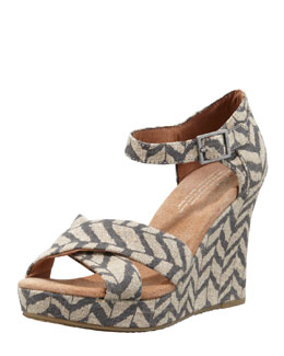 TOMS Zigzag Zebra Wedge, Natural