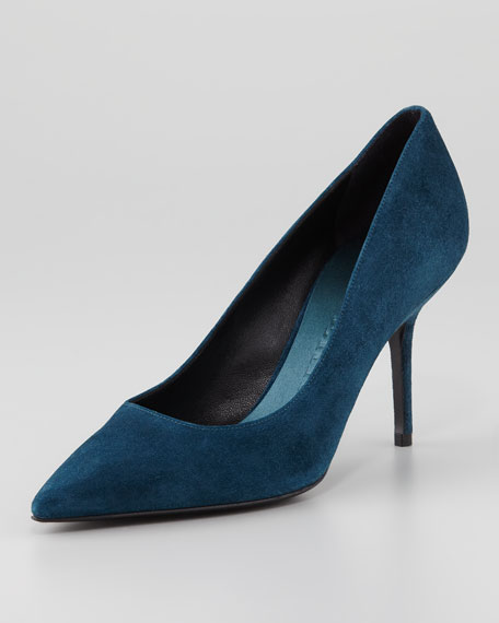 Suede Pointed-Toe Pump, Dark Teal