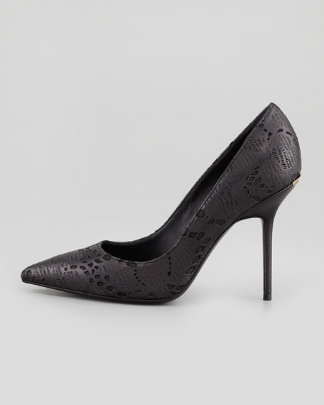 Laser Cut Lace-Detailed Pump, Black