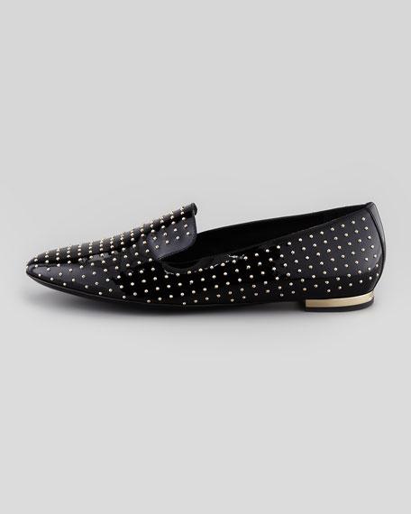 Patent Studded Smoking Slipper, Black