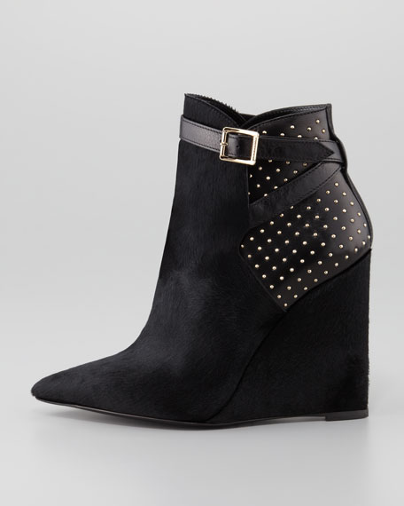 Studded Point-Toe Ankle Boot, Black
