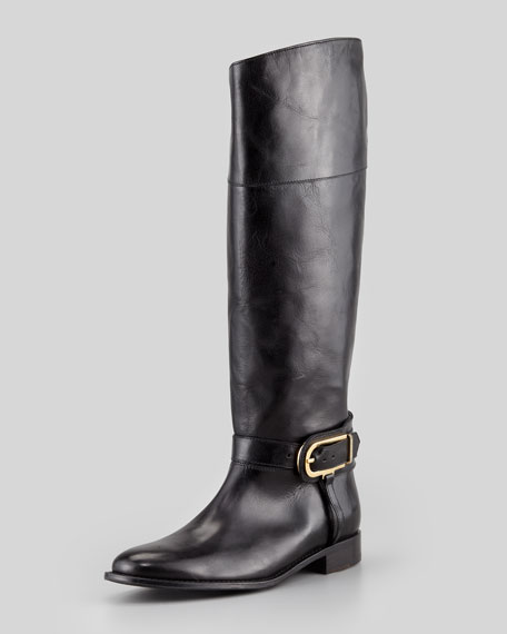 Burberry Flat Buckled Riding Boot, Black