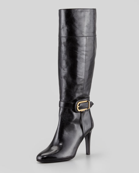 Leather Knee Boot with Buckle