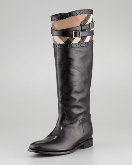 Check-Top Brogue Riding Boot, Black