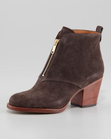 Suede Zip-Front Ankle Boot, Gray