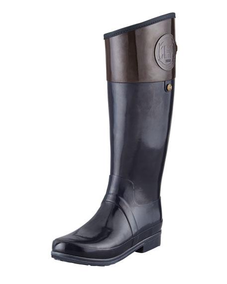Hunter Boot Sandhurst Carlyle Riding Boot, Navy/Chocolate