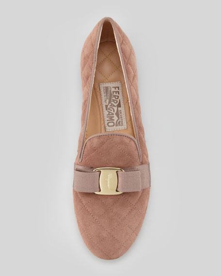 Scotty Quilted Suede Smoking Slipper, Taupe