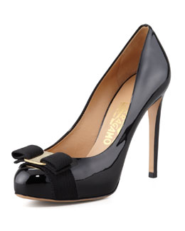 Salvatore Ferragamo Rilly Patent Vara Pump, Black