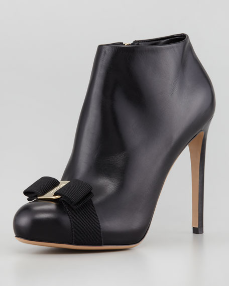 Royal Vara Bow Leather Bootie, Black