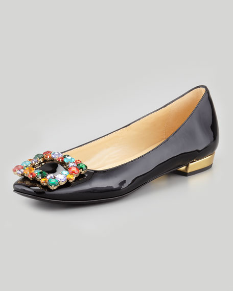 norella crystal-buckle patent flat