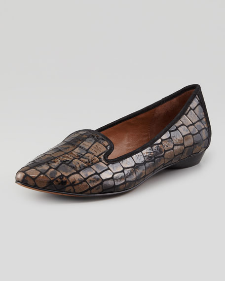 Anica Crocodile-Print Suede Loafer, Bronze