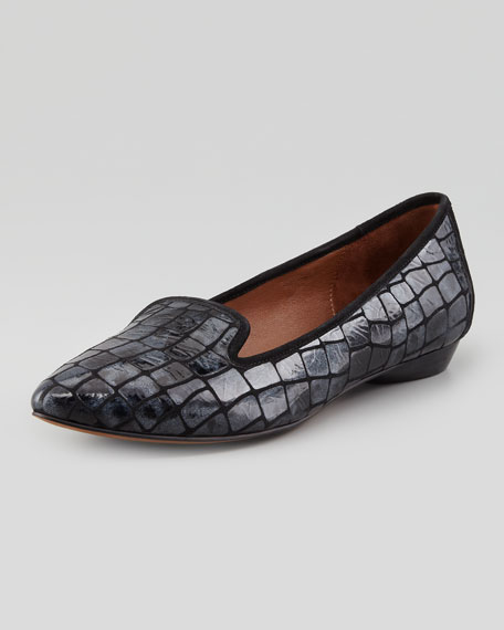 Anica Shimmery Crocodile-Patterned Loafer, Pewter