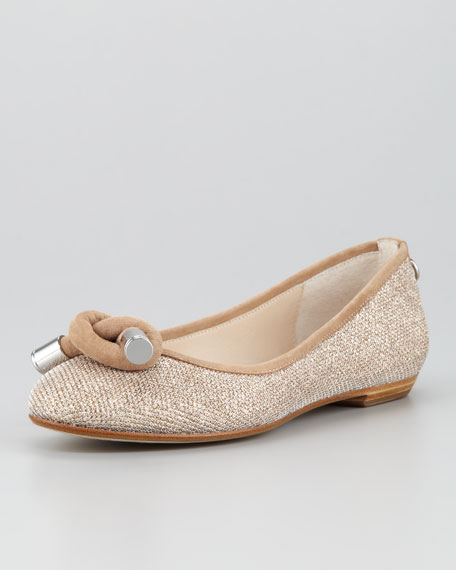 Gracie Metallic Knot Ballerina Flat, Sand