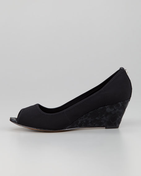 Molly Stretch Crepe Wedge Pump, Black/Pewter