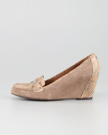 Neny Snake Embossed Suede Oxford Wedge