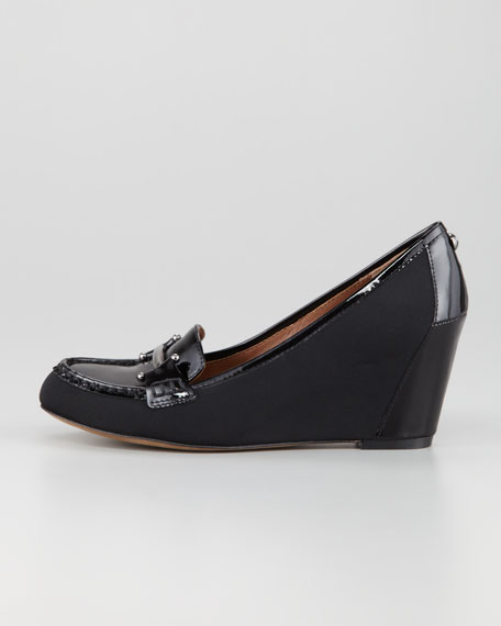 Neny Stretch Crepe-Patent Oxford Wedge