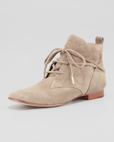 E-Camo Lace-Around Suede Bootie, Stone