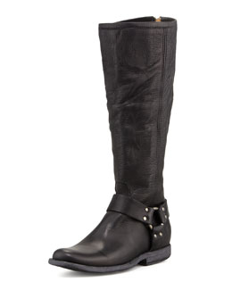 Frye Phillip Tall Harness Boot, Black
