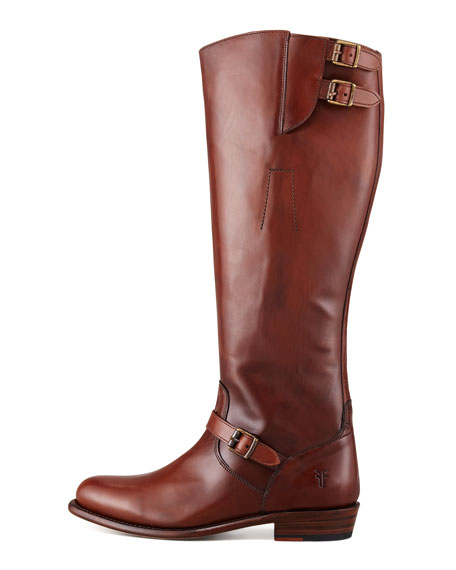 Dorado Buckled Leather Riding Boot, Whiskey