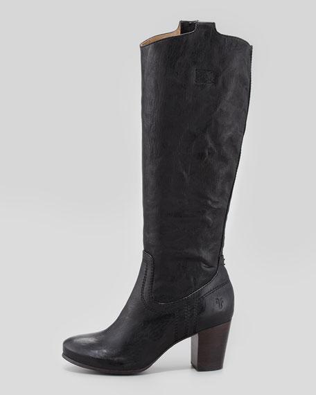 Casron Mid-Heel Tabbed Tall Boot, Black