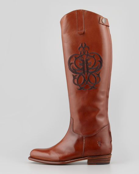 Polished Embroidered Riding Boot, Whiskey