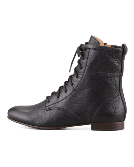 Jillian Pebbled-Leather Lace-Up Boot, Black