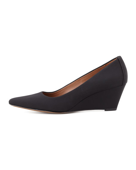 Eddi Stretch Crepe Pointed-Toe Wedge Pump, Black