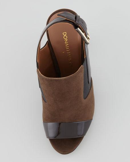Morgan Suede-Patent Slingback Sandal