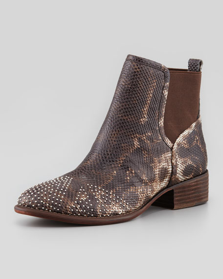 Pronto Lizard-Embossed Stud Ankle Boot, Natural