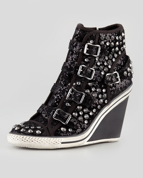Tosca Sparkling Wedge High-Top Sneaker, Black