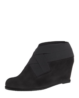 Stuart Weitzman Be Happy Stretch Suede Wedge Bootie