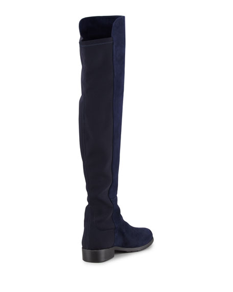 50/50 Suede Stretch Over-the-Knee Boot, Nice Blue