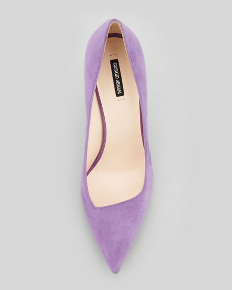 Suede Asymmetric Pointy-Toe Pump, Violet