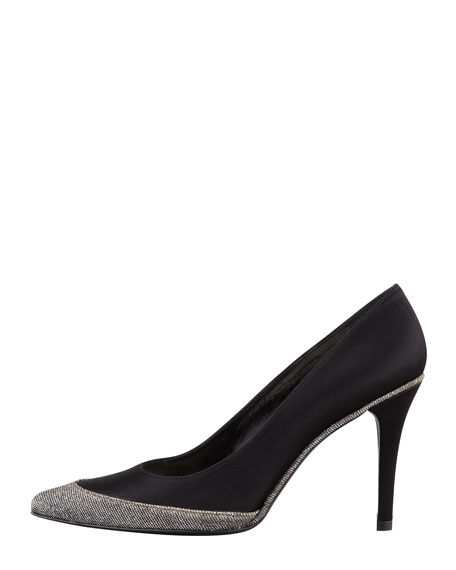 Fairlady Satin Sparkle-Toe Evening Pump