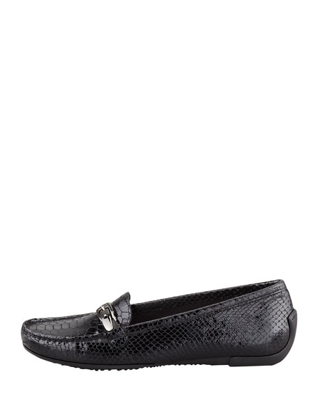 Running Snake-Print Patent Leather Moccasin