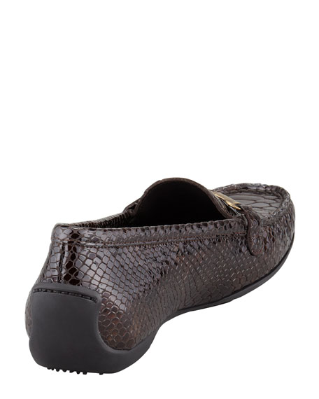 Running Crystal Snake-Embossed Patent Moccasin, Fudge